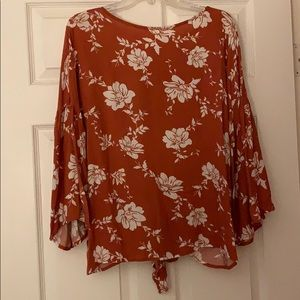 Oddy Floral Bell Sleeve Top NWT